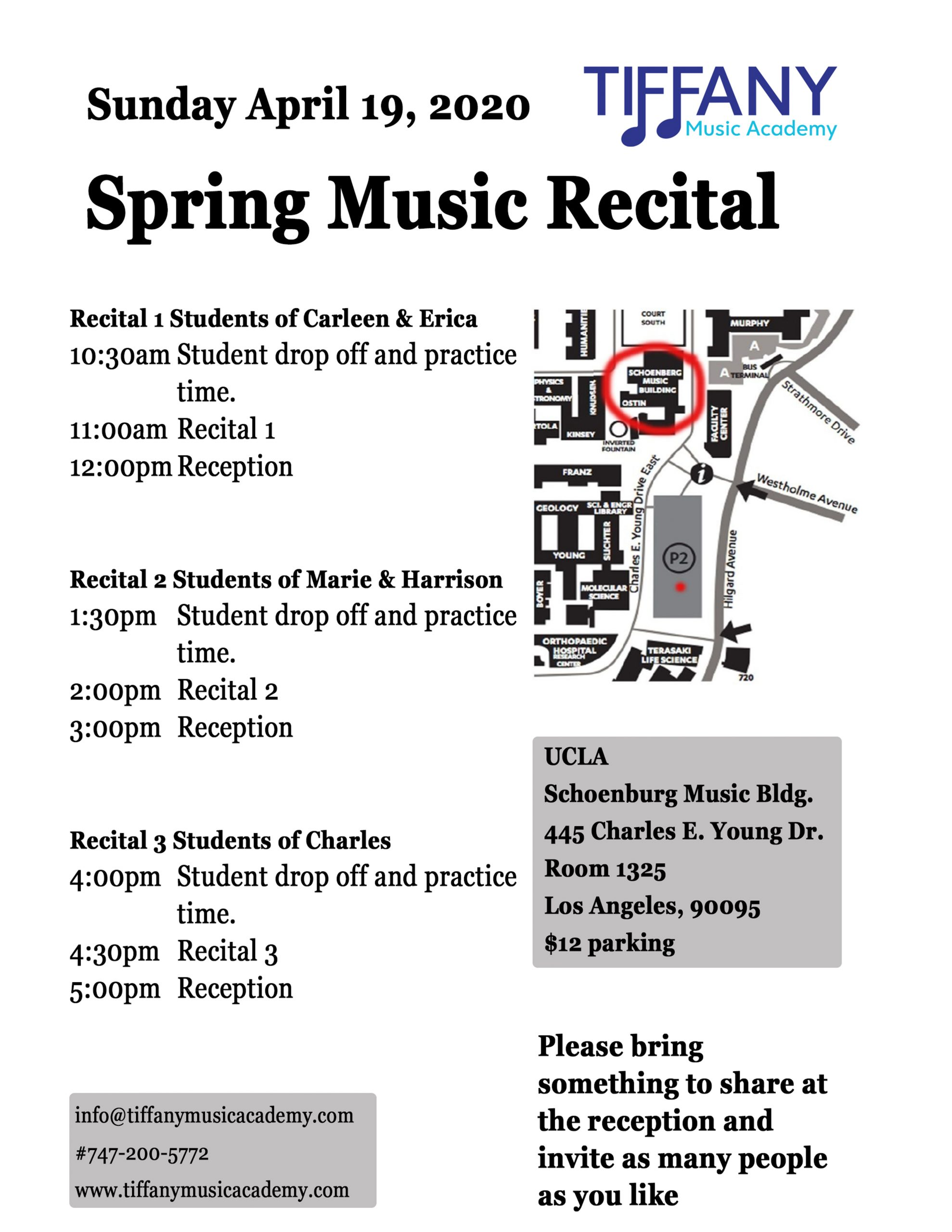 1 page Recital Information sheet